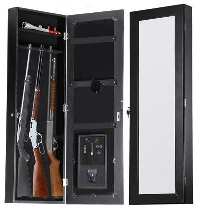 In-wall hidden mirror gun safe