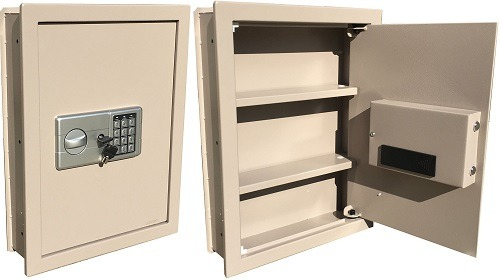 Flat Recessed In-Wall Brown Gun Safe